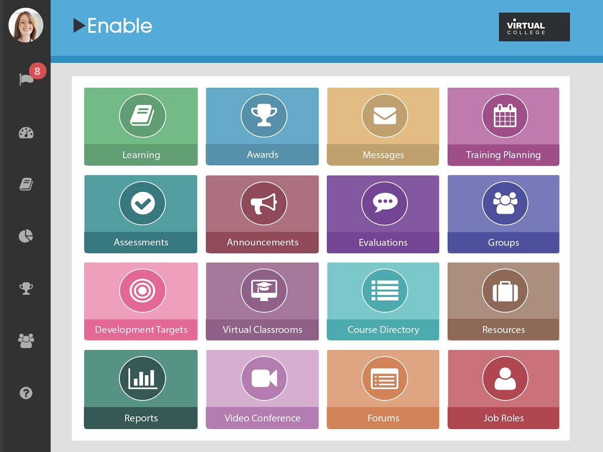Tasks can be accessed from the main Enable LMS dashboard