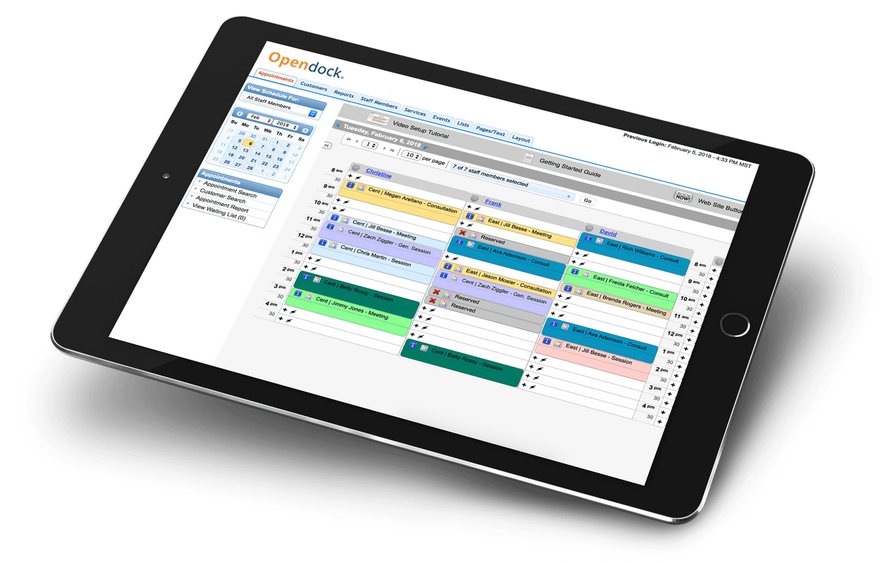 Opendock screenshot: OpenDock scheduling calendar