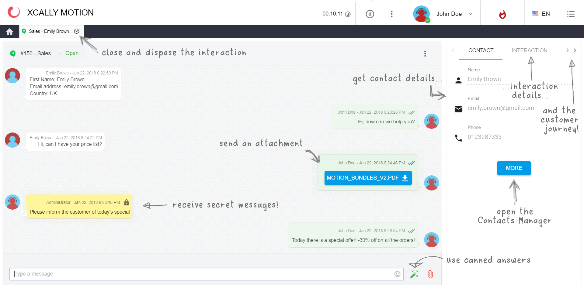 In the interaction view, agents can receive and send messages, attachments, canned answers, and can immediately see also contact info, interaction details and the customer journey