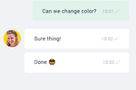 Paldesk Screenshot: Chat widgets can be customized with company colors