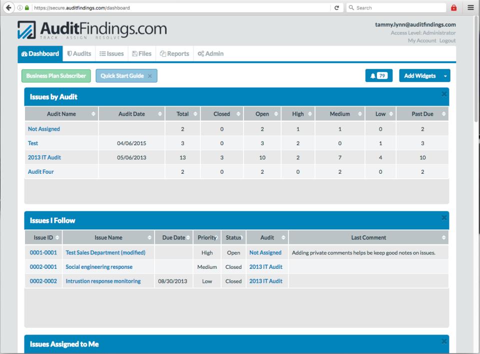 AuditFindings dashboard screenshot