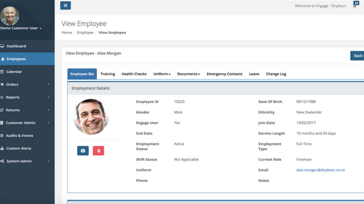 Employee profiles can be created and customized to store all information, contact details, and documentation for every employee