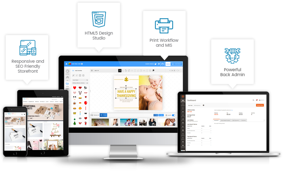 The all-in-one platform allows businesses to design prints, sell them online, and manage the back-end admin
