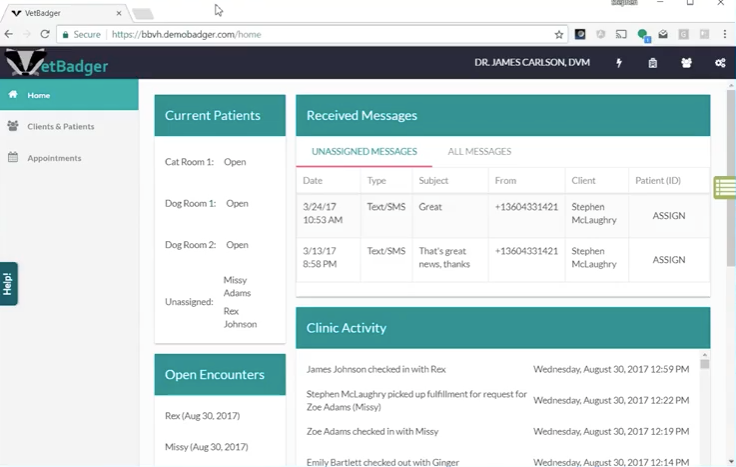 VetBadger  screenshot: Track clinic activity and received messages from the VetBadger homepage