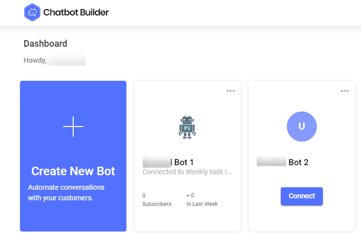 BotMyWork Chatbot Builder screenshot: BotMyWork Chatbot Builder dashboard