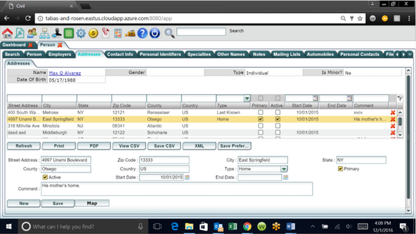 LegalEdge address database screenshot
