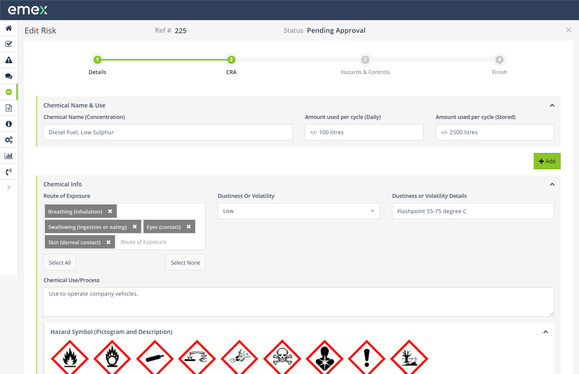 Emex EHS & ESG Software Software - Configure dynamic risk assessments based on your organisation's template requirements for any activity, equipment, chemicals, etc.