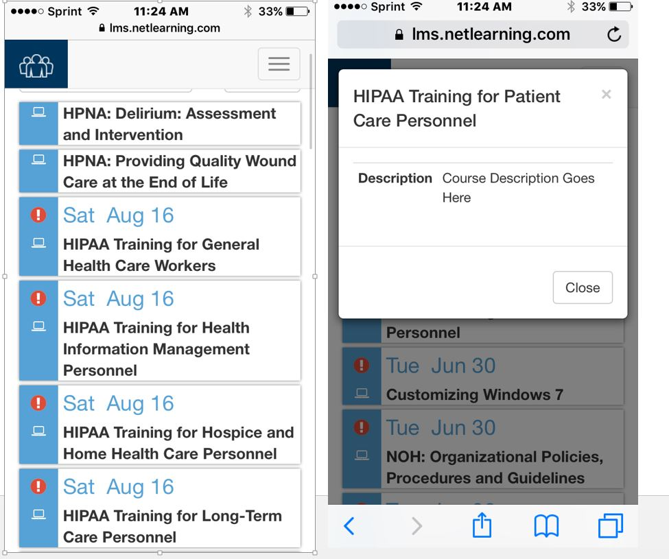HealthcareSource Learning Management Software - Mobile view