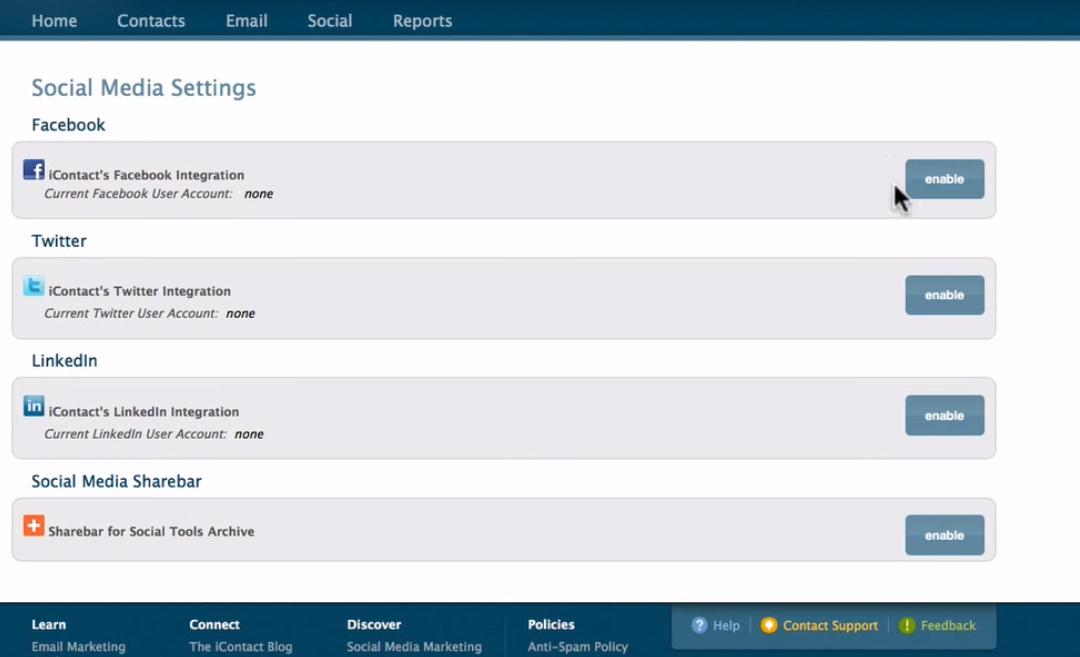 iContact Software - Social media integration