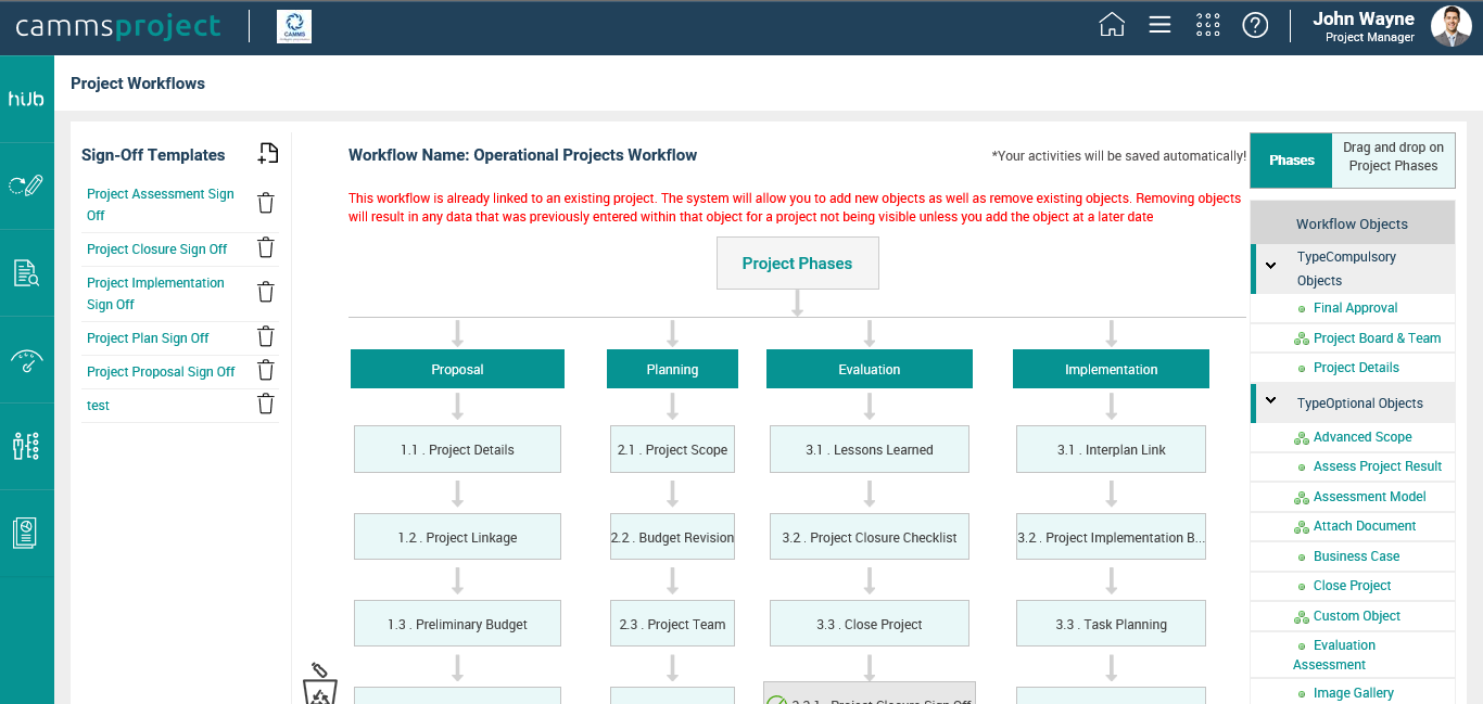 Camms.Project Software - Project workflow