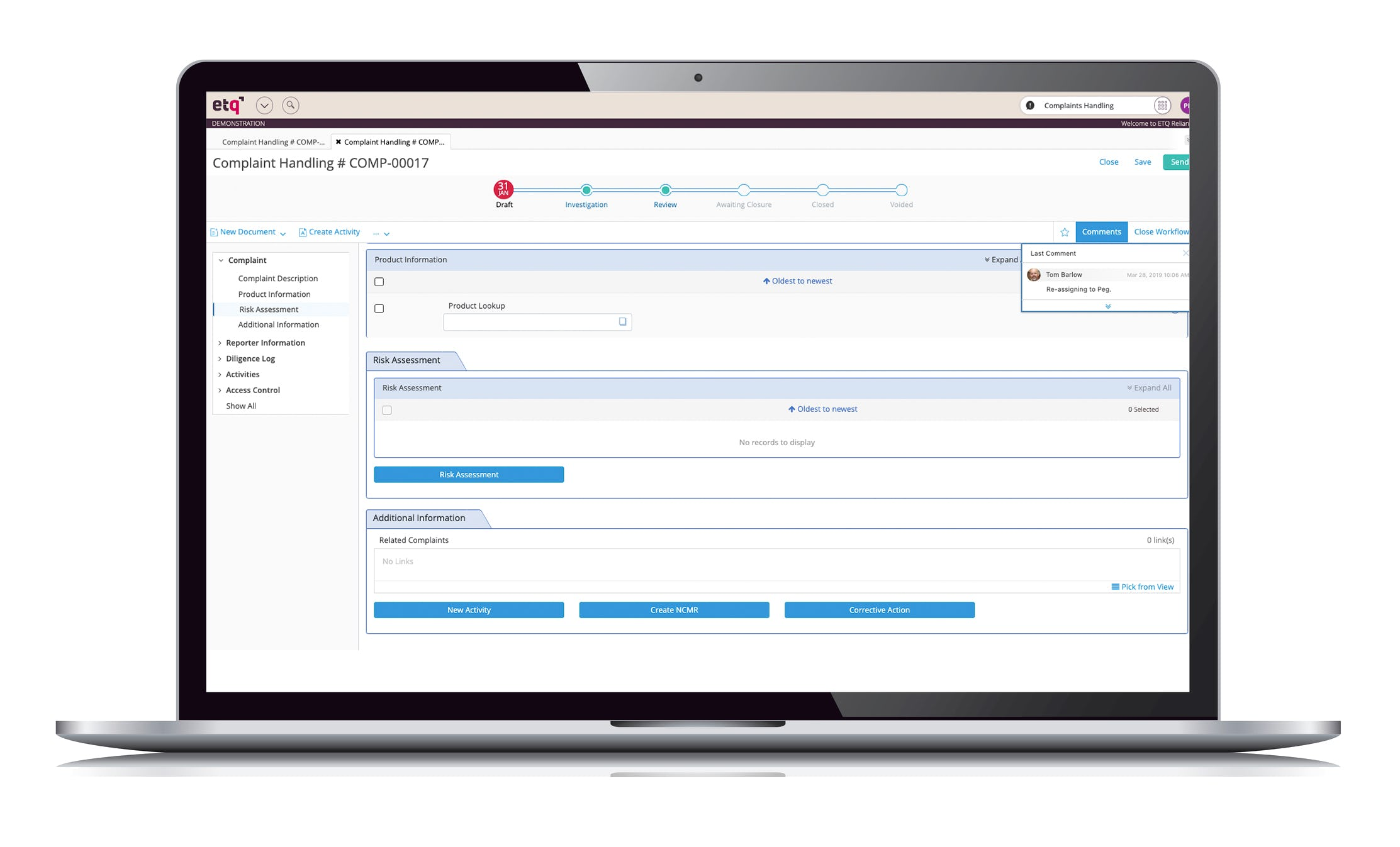 ETQ Reliance Software - Complaints Handling
