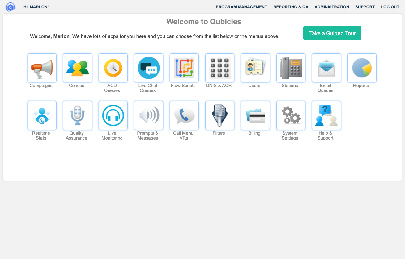 Qubicles screenshot: The launchpad gives users access to campaigns, call queues, live chat queues, email queues, real-time statistics, reports, call recordings, and more.