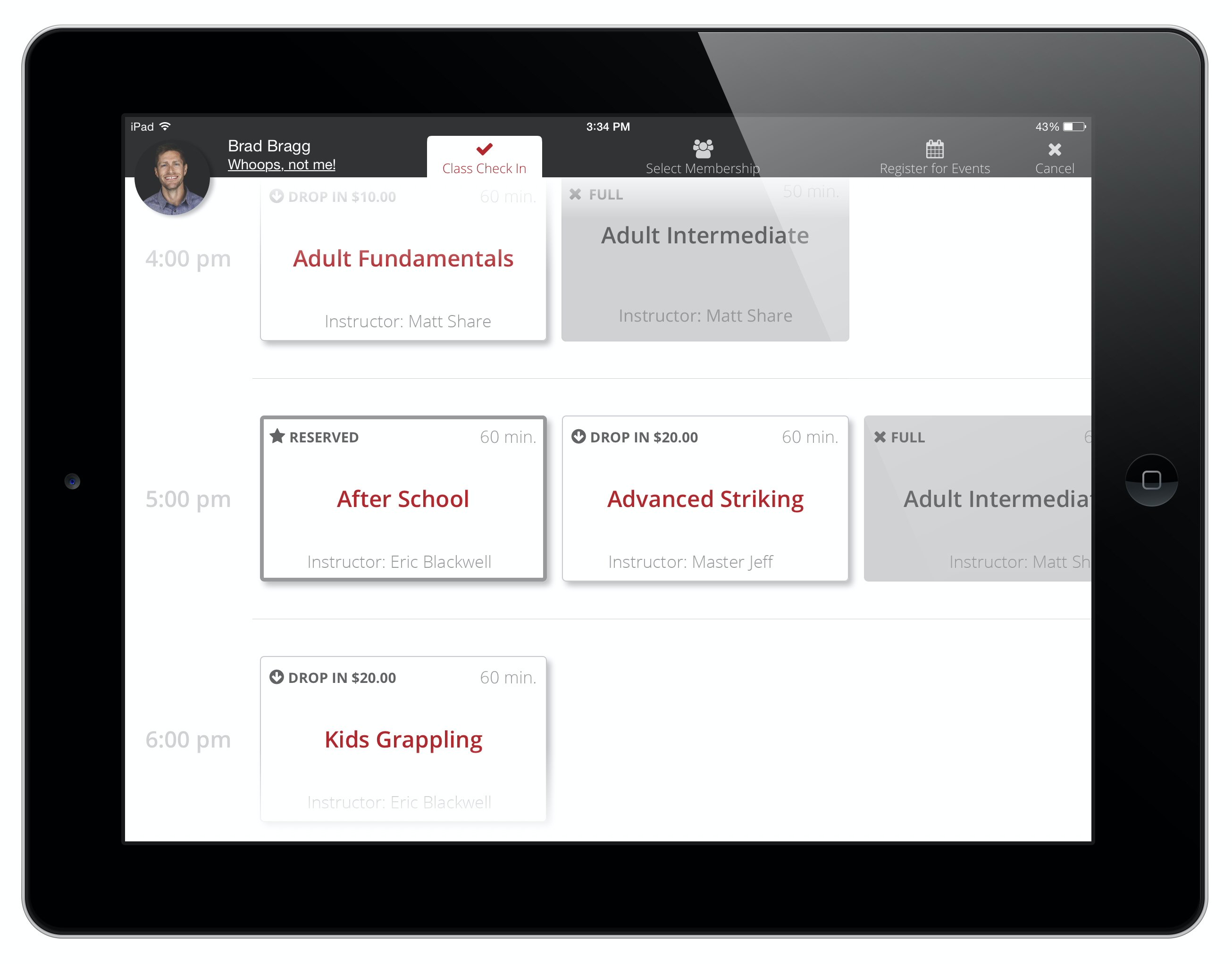 Members can quickly & easily check-in to classes and appointments on the Kiosk iPad App
