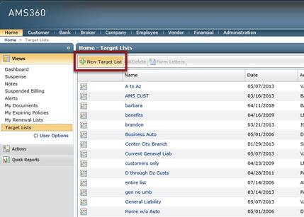 AMS360 creating new target lists