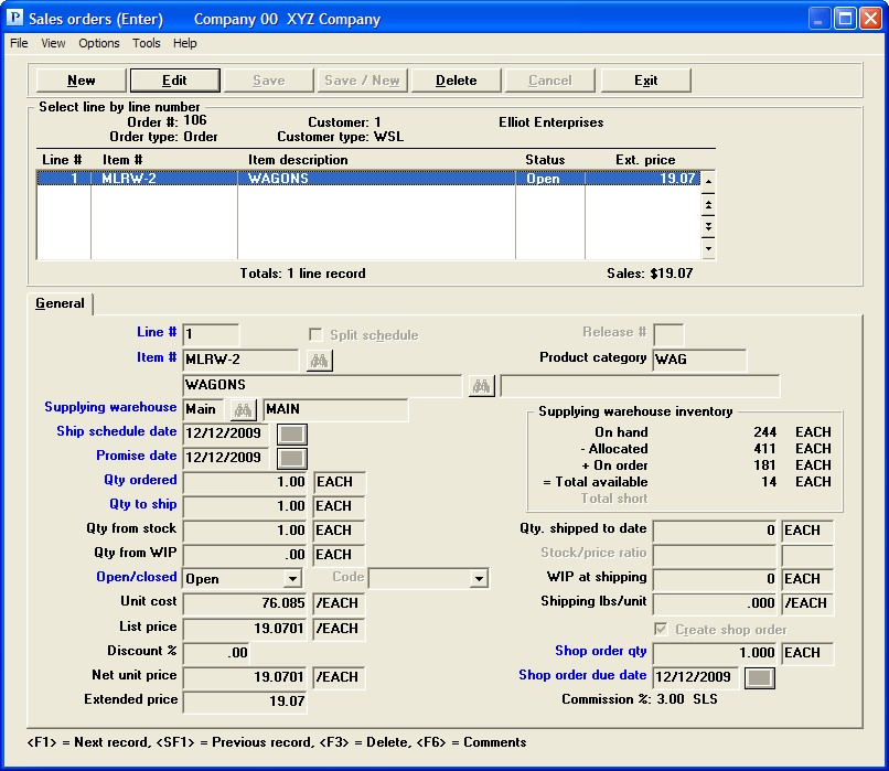 PBS Accounting Software - Sales order entry