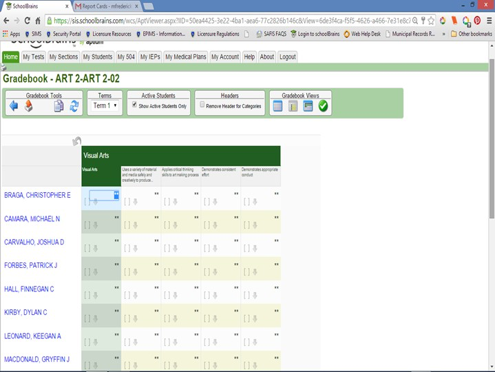 Home screen in SchoolBrains allows one click tabs to various sections including scores, medical plans and accounts