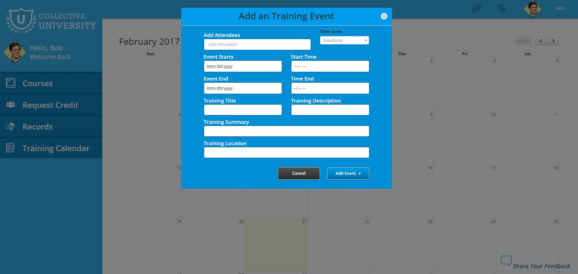 Collective University Software - Add training events