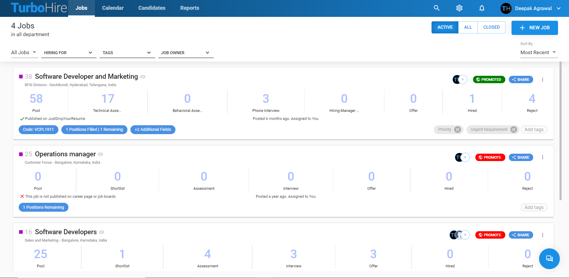 TurboHire screenshot: Manage all your job requisitions and get a high-level view of candidate pipelines