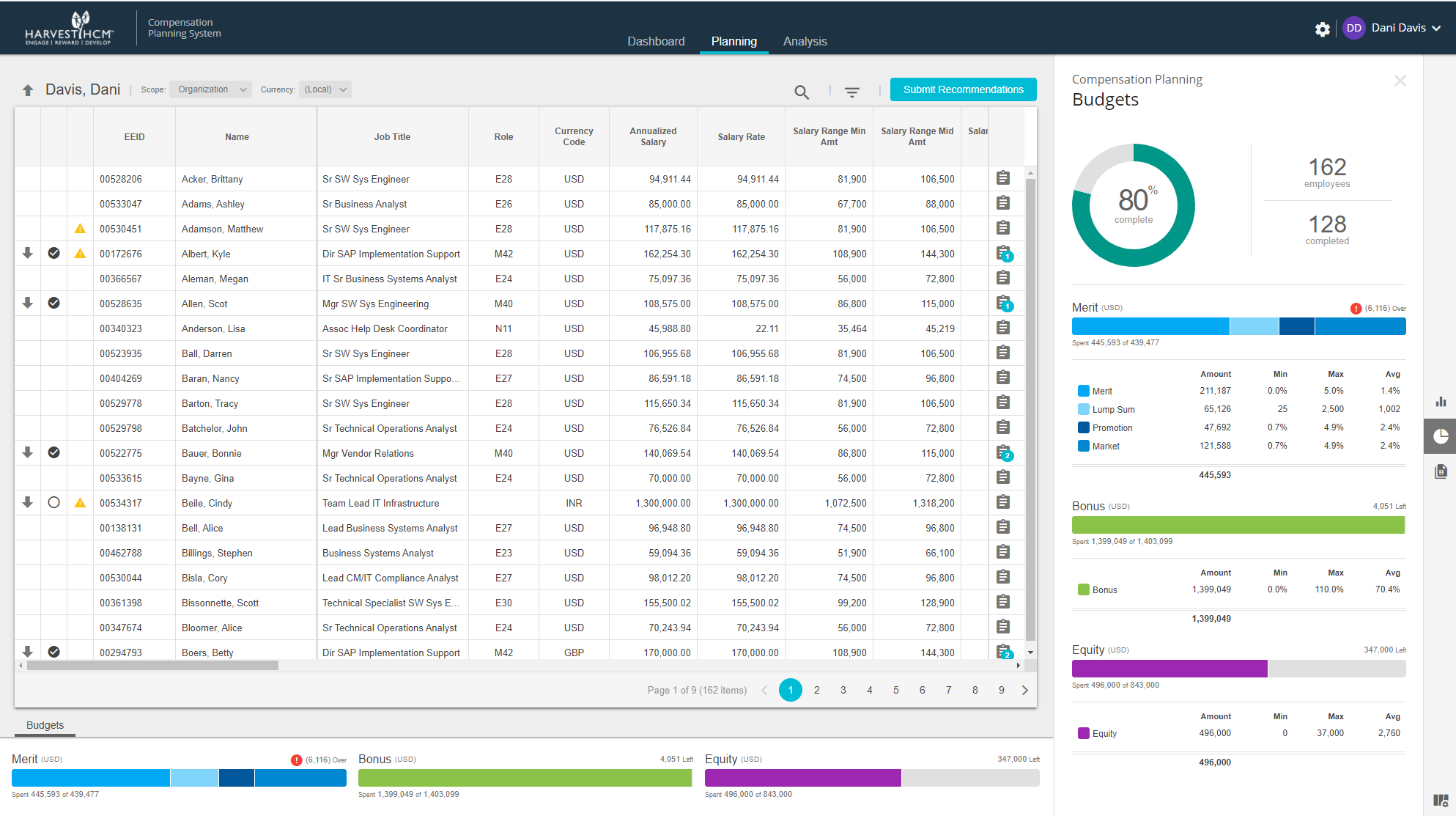 Complogix Compensation screenshot: Comprehensive planning with real-time budgeting.