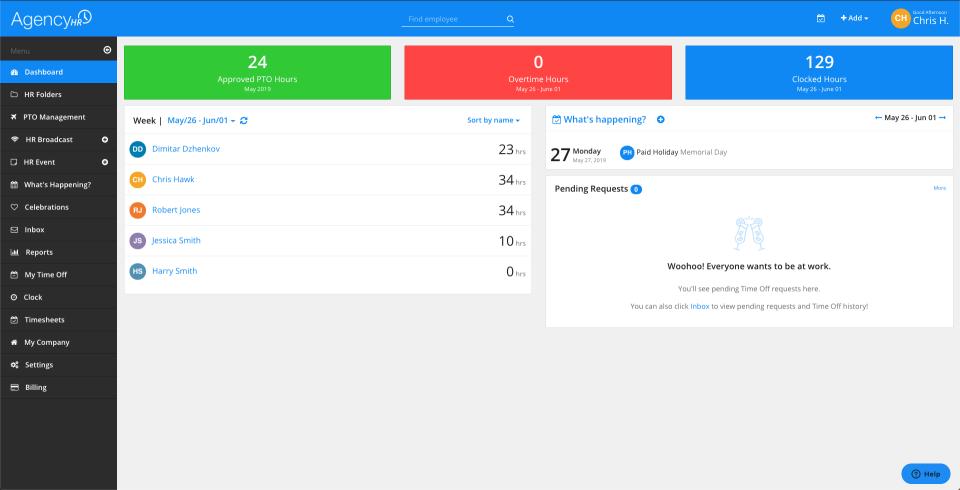 AgencyHR screenshot: AgencyHR team status dashboard
