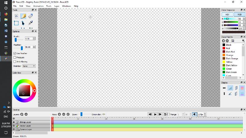 Pencil2D editing panel