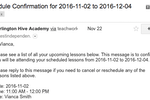 Teachworks screenshot: A customizable email template allows for the sending of more personalized schedule confirmation notifications, attendance reminders and more