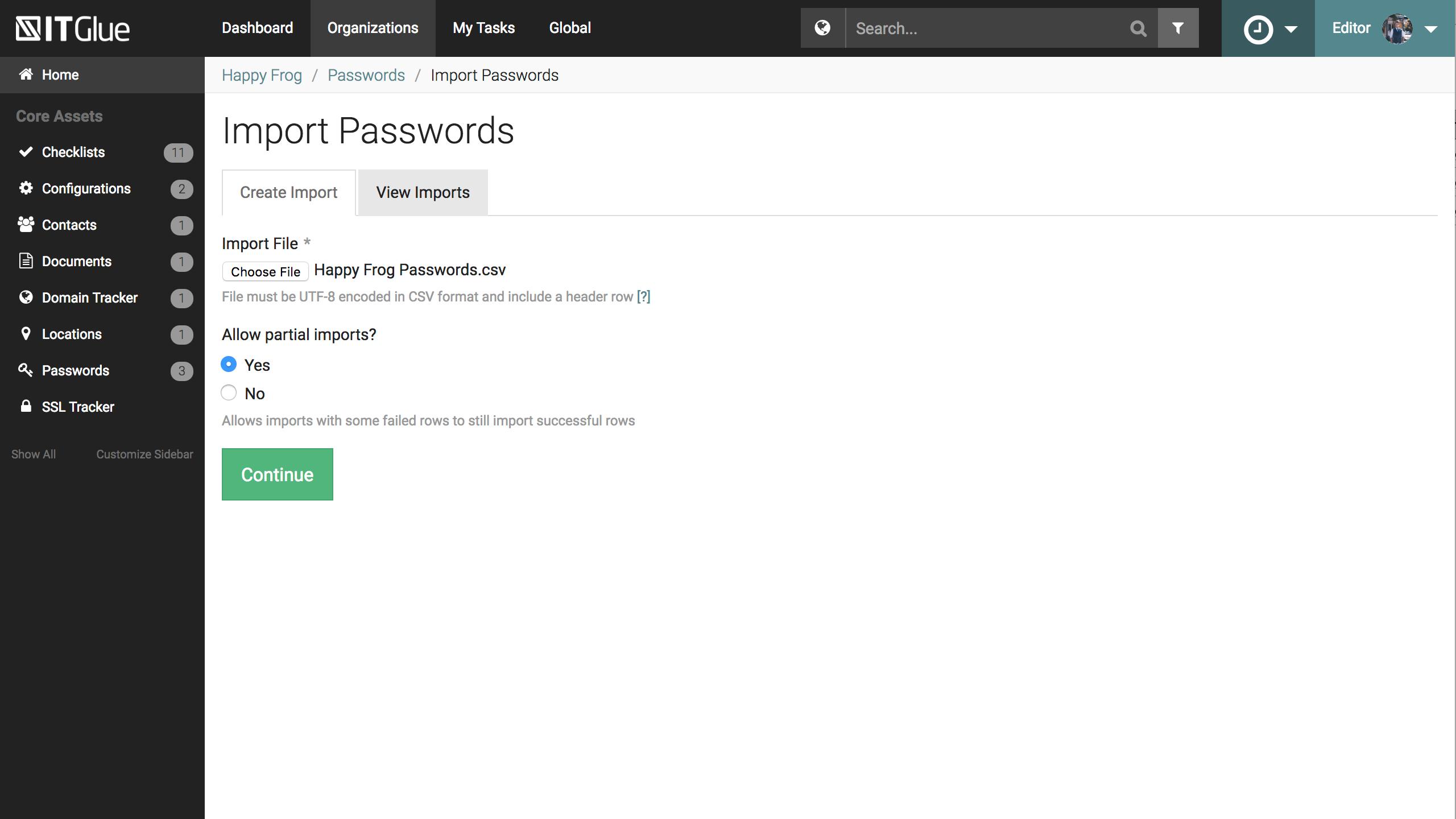 IT Glue Software - Import passwords