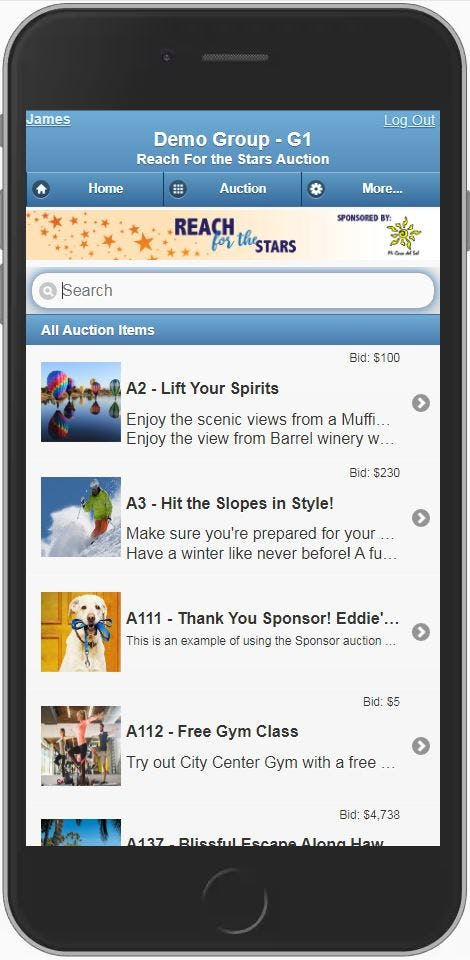 Auction catalog on a mobile device