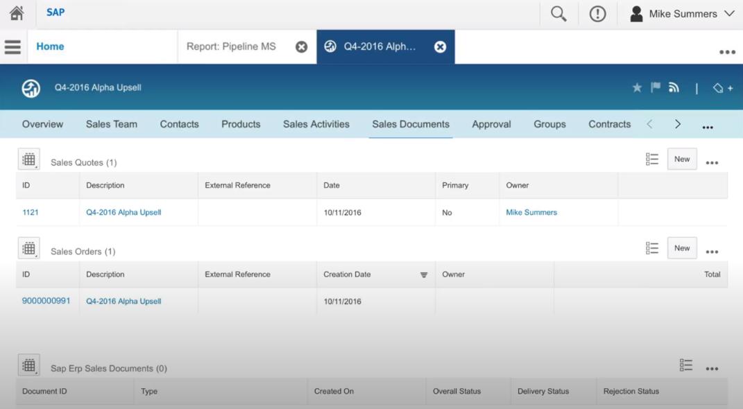 SAP Sales Cloud sales documents