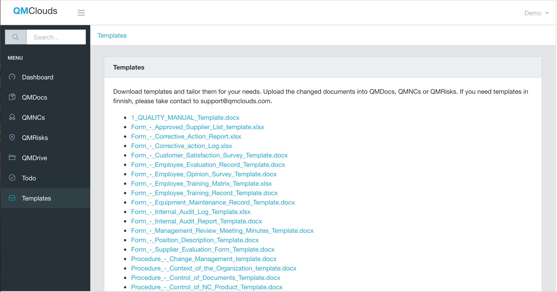 QMClouds Software - Templates