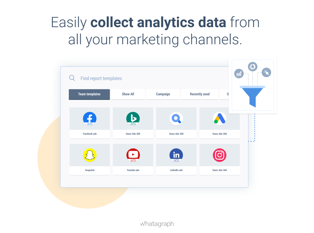 Easily collect analytics data from all marketing channels with Whatagraph