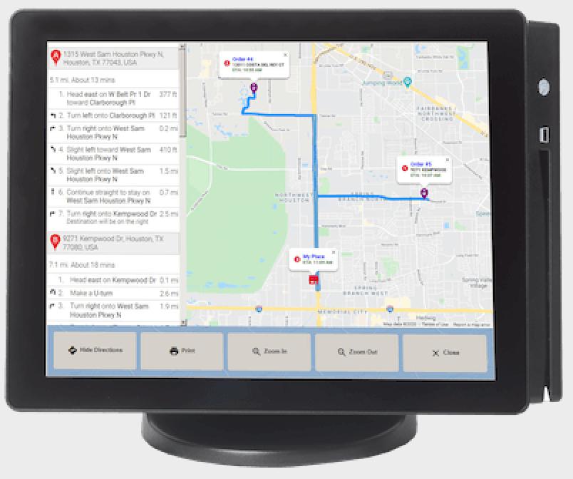 HungerRush Software - HungerRush POS integrates with Google maps