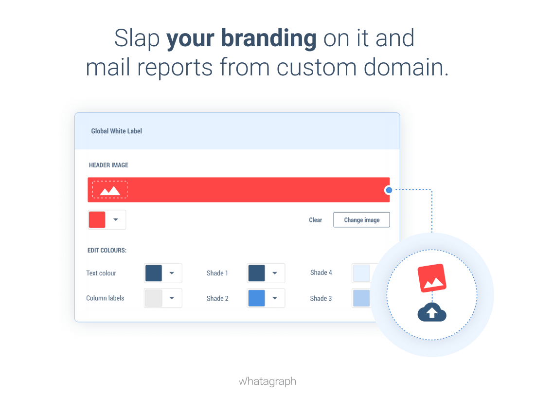 Create custom branded reports and mail them from a custom domain with Whatagraph