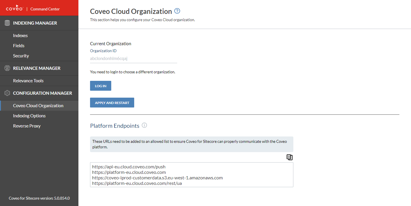 Coveo Relevance Cloud configure settings