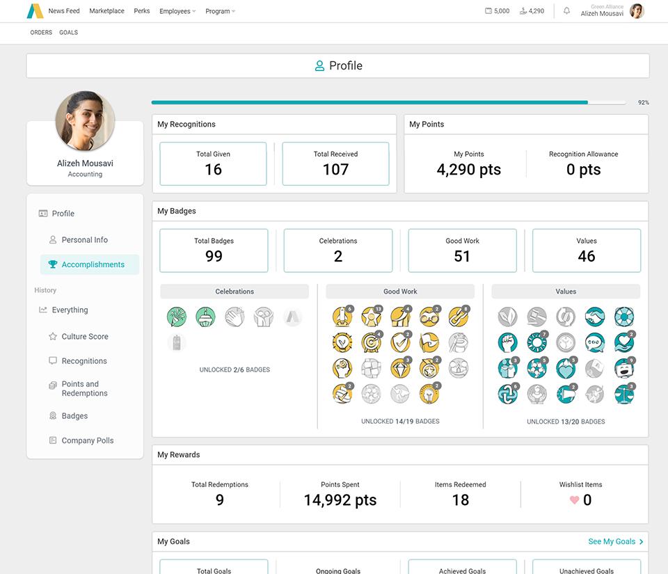 Applauz Recognition screenshot: Employee Profile