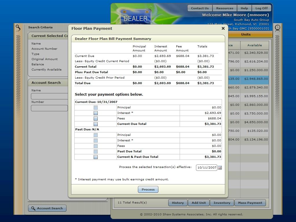 Floor plan payment