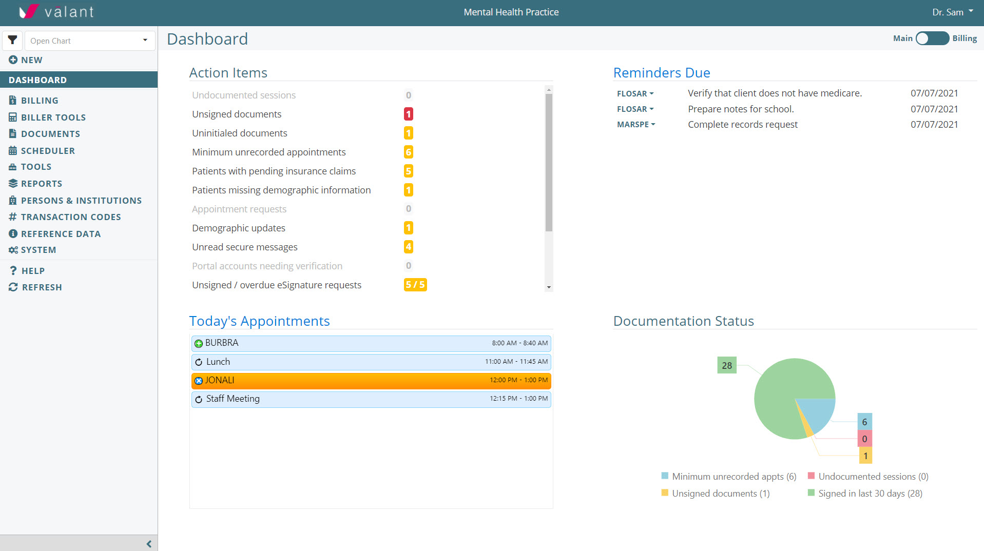 Valant's customizable dashboard keeps you organized and on task. See upcoming appointments, to-do lists, and documentation status in a quick-view format.