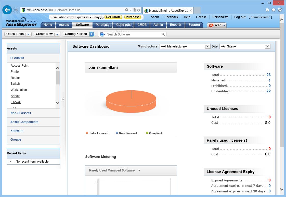ManageEngine AssetExplorer software dashboard screenshot