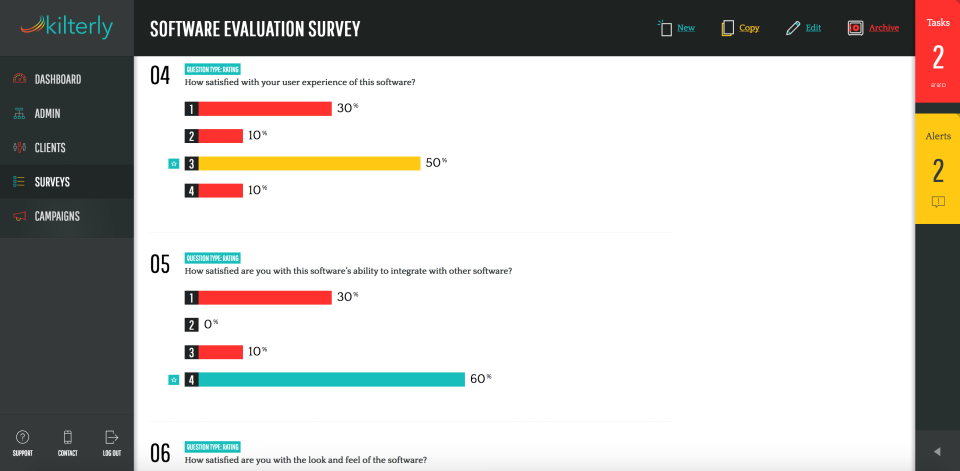 Gain critical insight about customer engagement with Kilterly's evaluation surveys and database intelligence