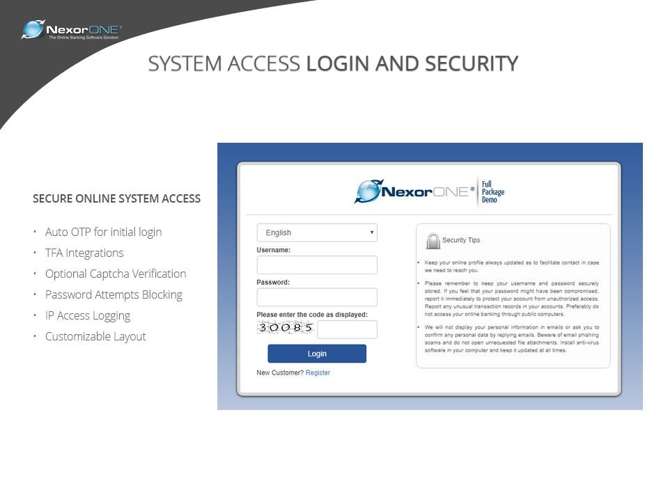NexorONE screenshot: Benefit from secure online access
