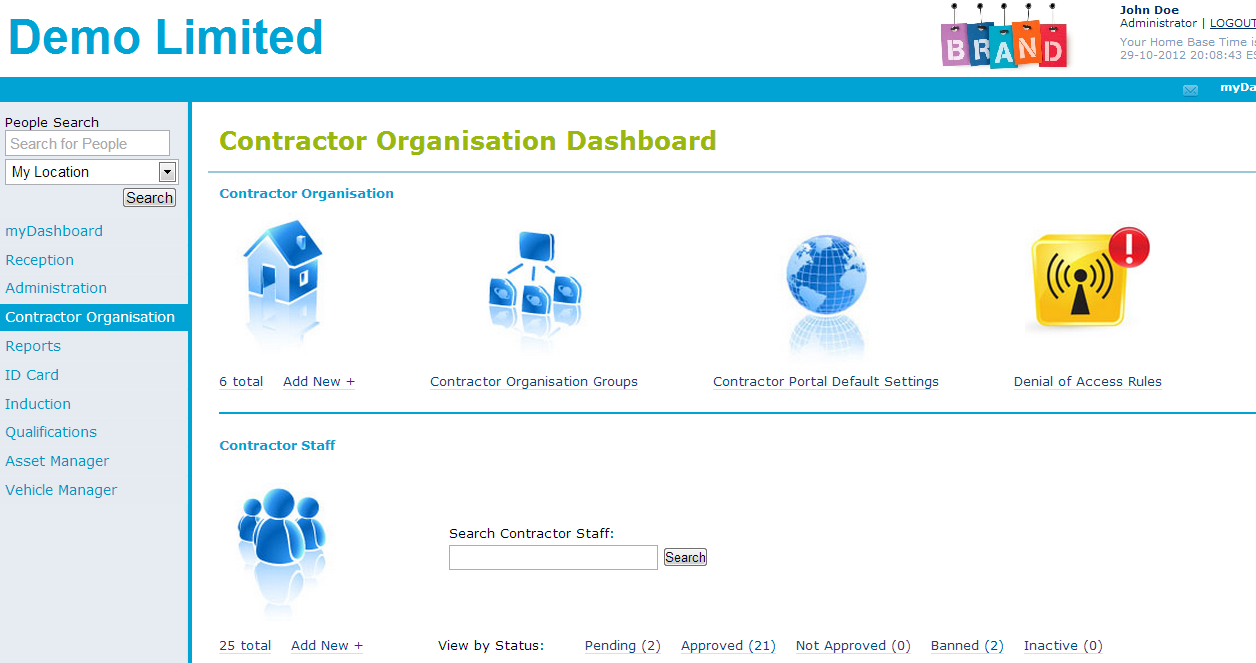 The Contractor Dashboard gives full access to all Contractor Information