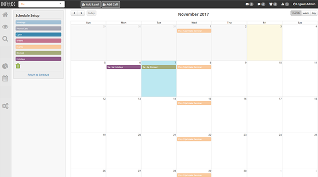 The drag and drop schedule builder allows users to organize staff, tasks, and events