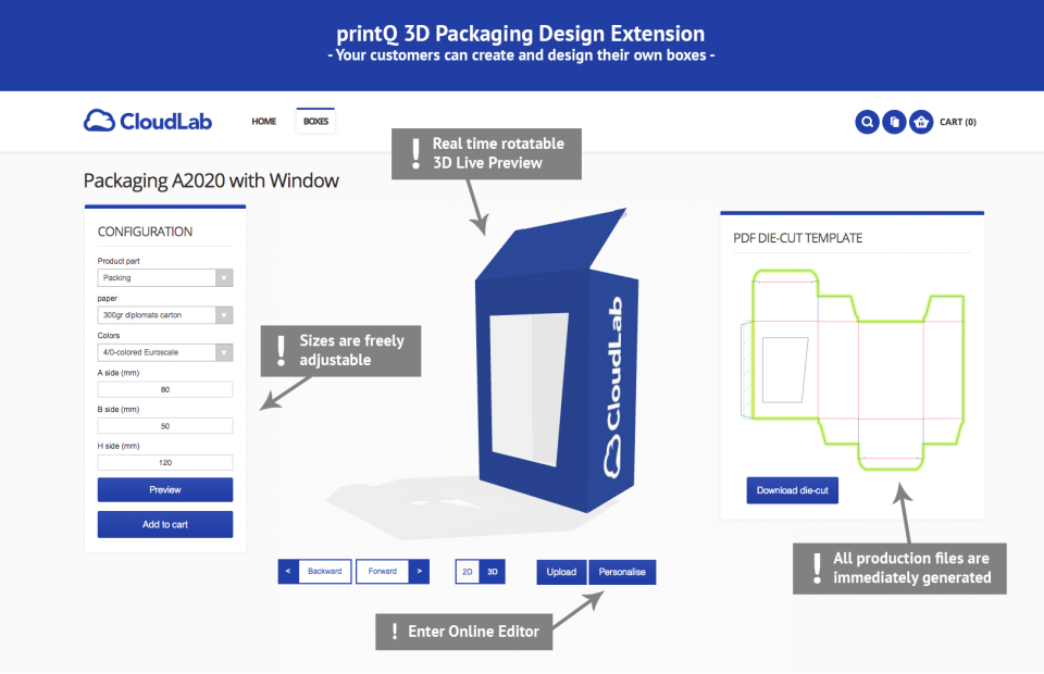 printQ screenshot: printQ 3D packaging design