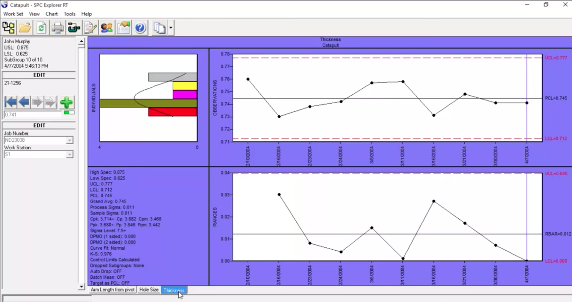 SPC-PC IV Explorer sigma chart