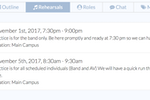 WorshipTrac screenshot: Rehearsals can be planned and scheduled