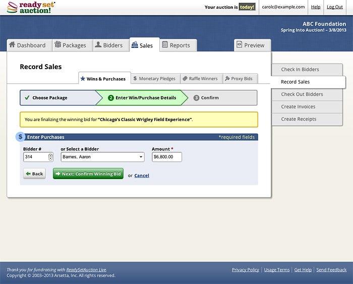 ReadySetAuction Software - Record bidding