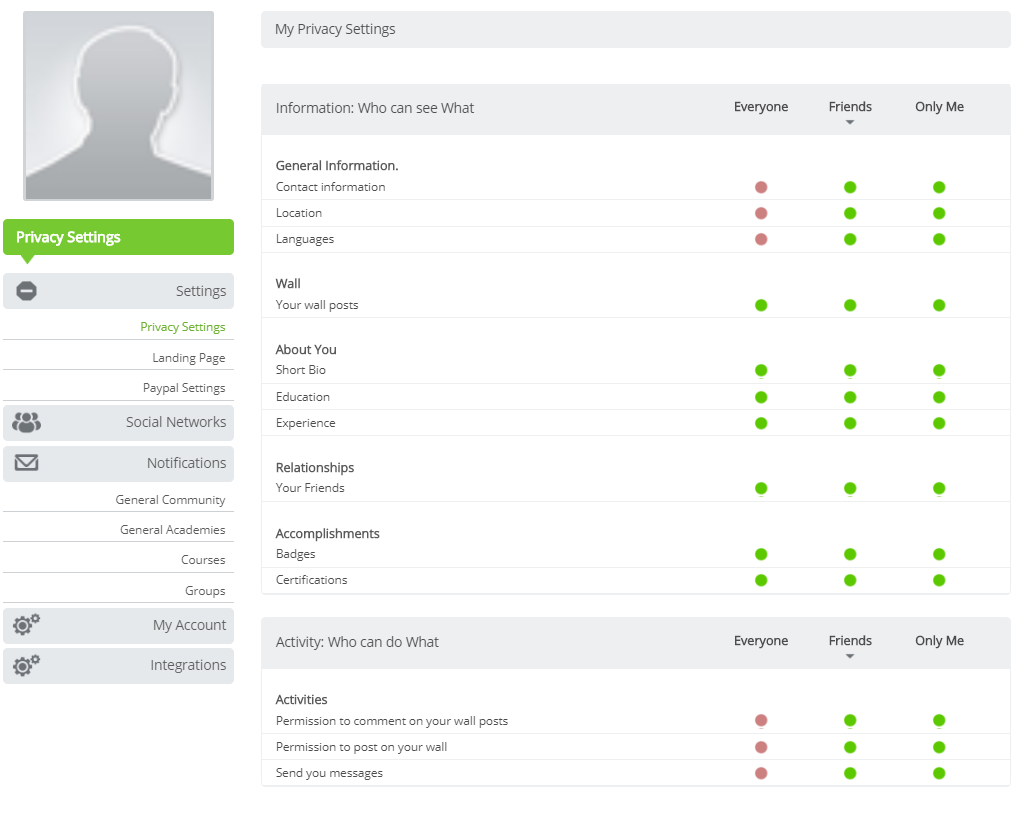 Schoox privacy settings