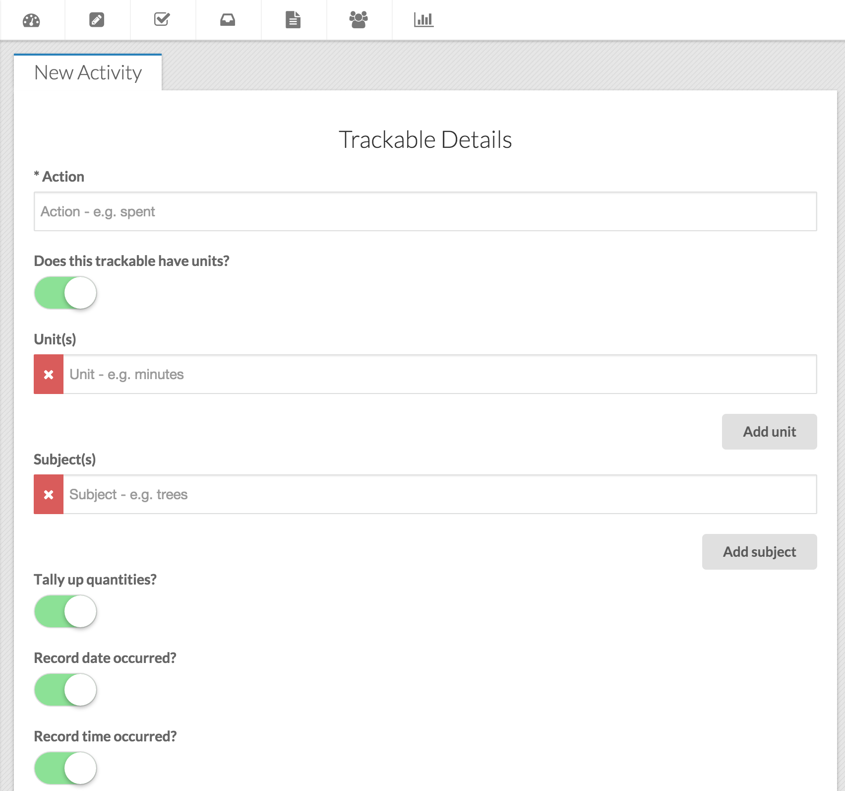 Users can create custom trackables in ManagePlaces to measure their own key performance indicators