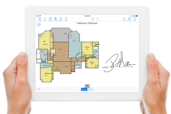 MeasureSquare screenshot: Capture measurements, photos and even customer signatures on the spot