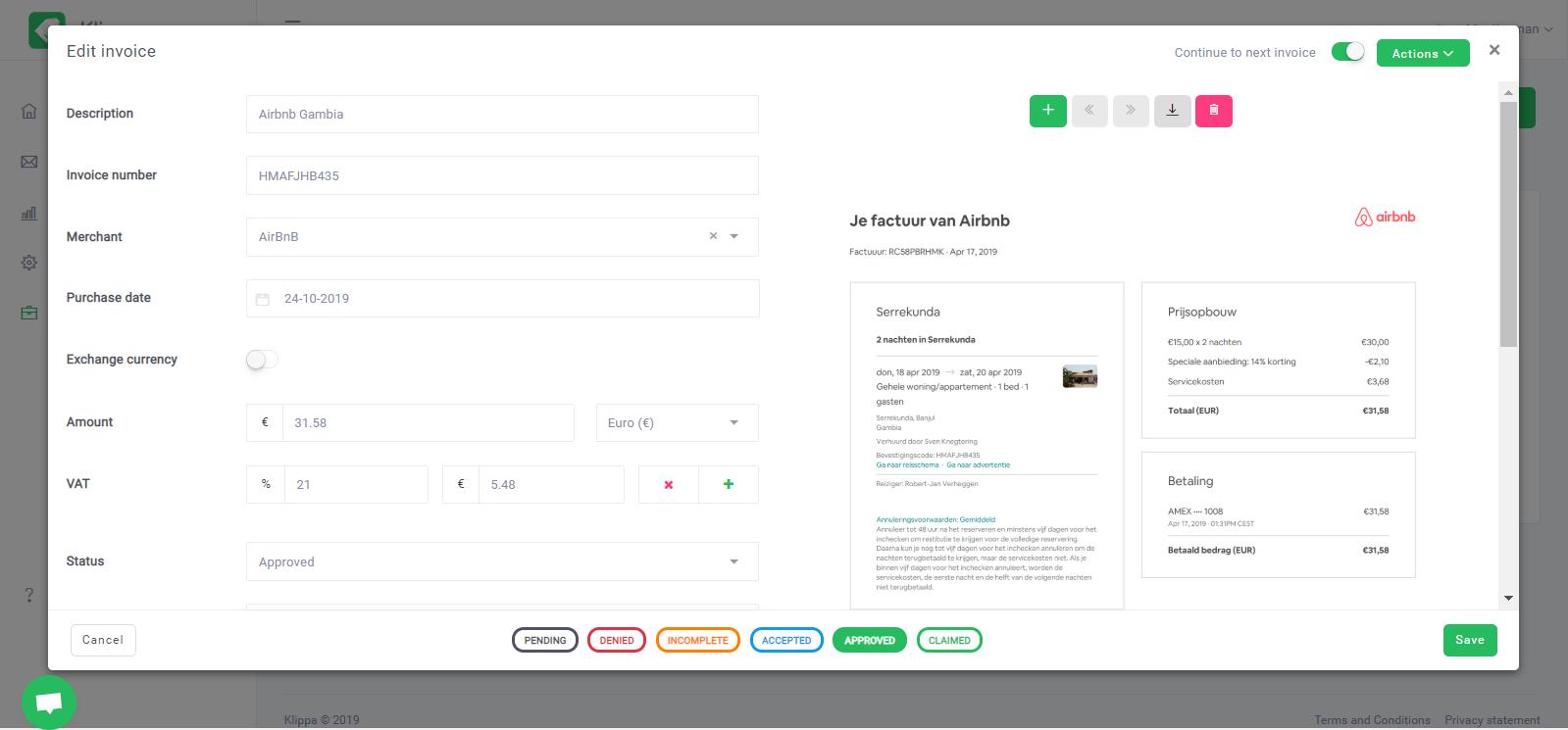 Klippa Software - Klippa edit invoice